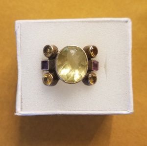 signed Sterling, citrine, amethyst and topaz ring